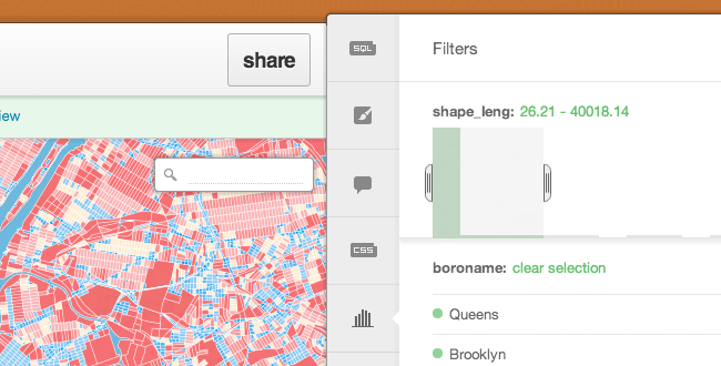 New brand filters in the CartoDB UI