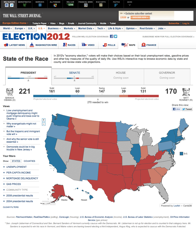 The Wall Street Journal S 2012 Election Map Done With Cartodb