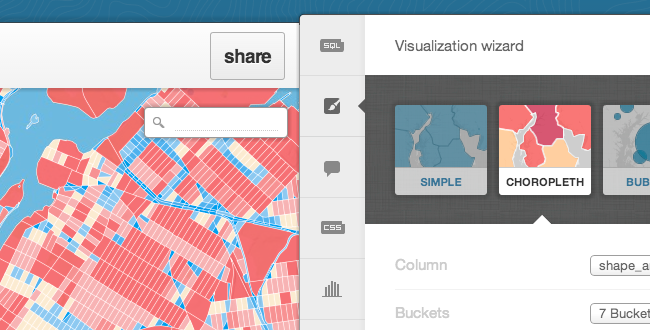 Map wizards in the CartoDB UI